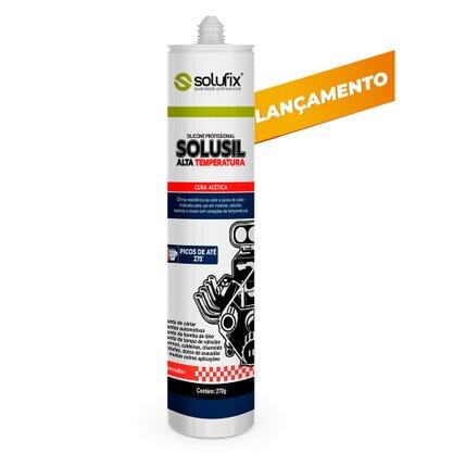 Adesivo de Silicone Acético Vermelho Alta Temperatura Solusil 270 gramas Solufix