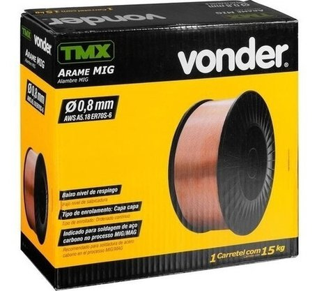 Arame Mig Solda 0.8mm Caixa com 15 kilos Vonder