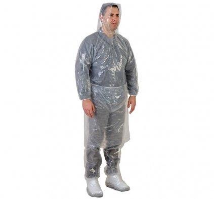 Kit Conjunto Capa de chuva com capuz e calça Transparente Descartável 10 peças CA 30354 Prevemax