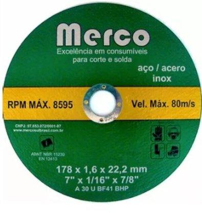 "Disco Corte Inox 7"" X 1.6mm X 7/8 Merco"