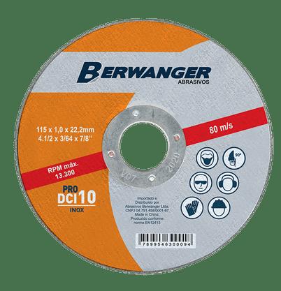 """Disco de corte inox 4.1/2"""" x 1,0mm x 7/8 DCI 10 Pro Berwanger"""