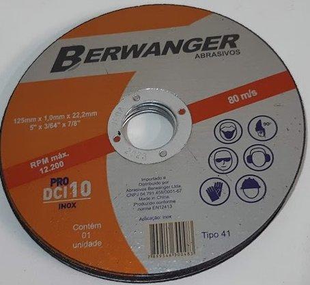 """Disco de corte inox 5"""" x 1,0mm x 7/8 DCI 10 Pro Berwanger"""
