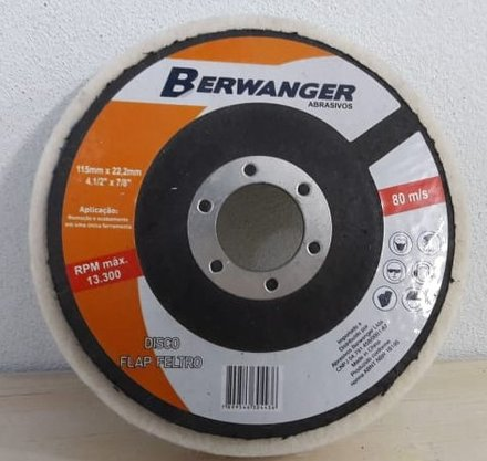 Disco Flap 4.1/2 Feltro Branco Pro Berwanger