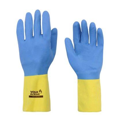 Luva Latex Neoprene Bicolor Amarelo e Azul Tamanho 9/G CA 37900 Volk do Brasil
