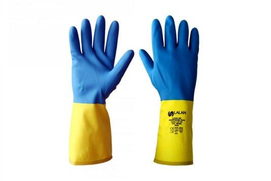 Luva Latex Neoprene Duo Bicolor Amarelo e Azul Tamanho M CA 39566 Lalan